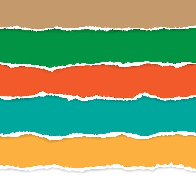 Zestaw Kolorów Podarty Papier. Ilustracja Z Cieniami. Premium Wektorów