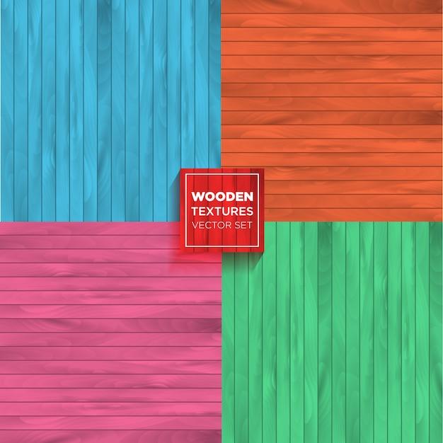 Zestaw kolorów wektor realistyczne tekstury drewniane. Premium Wektorów