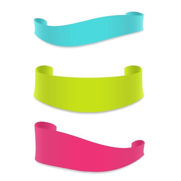 Zestaw Kolorowych Banerów Wstążka Zestaw Premium Wektorów
