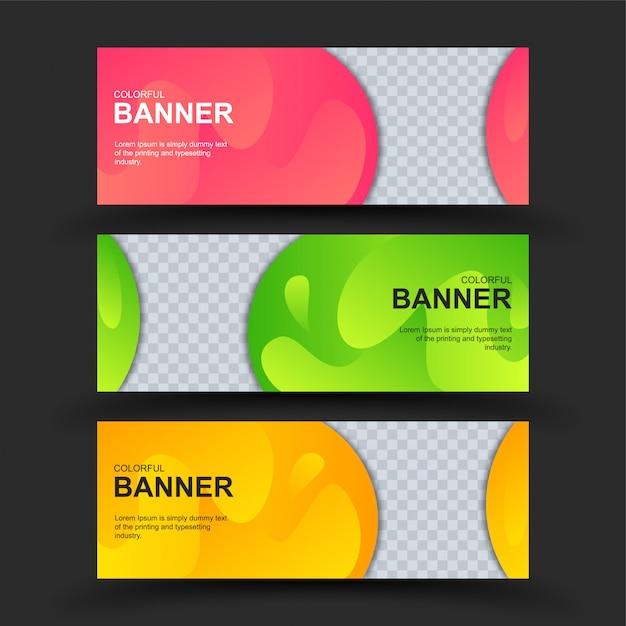 Zestaw kolorowych banerów Premium Wektorów