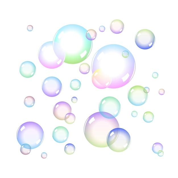 Zestaw Kolorowych Baniek Mydlanych Z Przezroczystością Premium Wektorów