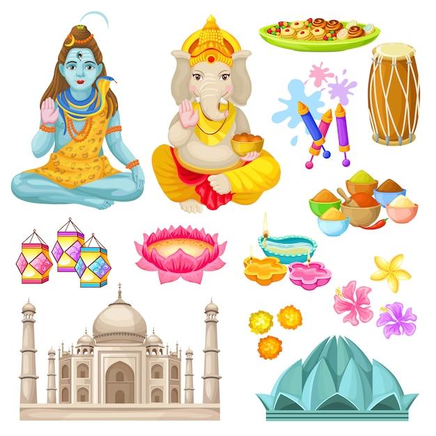 Zestaw Kolorowych Elementów Kultury Indyjskiej Darmowych Wektorów