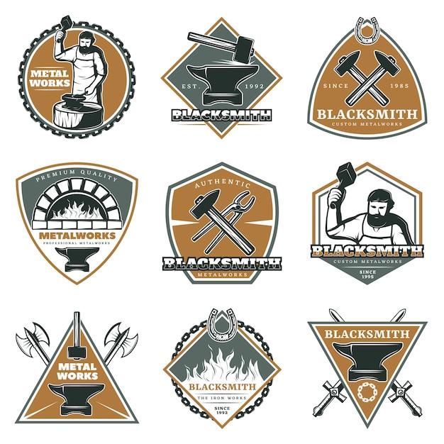 Zestaw Kolorowych Etykiet Rocznika Metalurgii Darmowych Wektorów