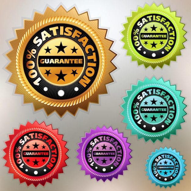 Zestaw Kolorowych Etykiet Satysfakcji. Premium Wektorów