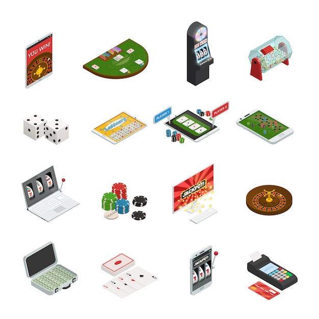 Zestaw kolorowych gier hazardowych Darmowych Wektorów