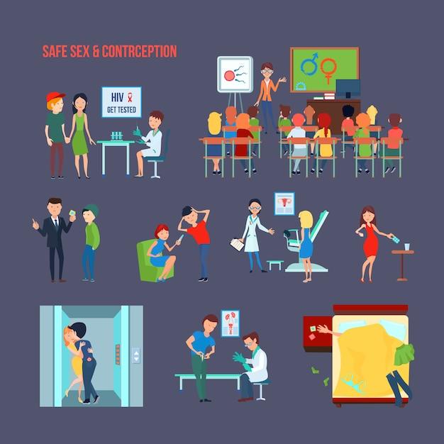 Zestaw kolorowych ikon antykoncepcji płaskiej z dzieckiem w szkole i ich informacją i bezpiecznym opisem seksu Darmowych Wektorów