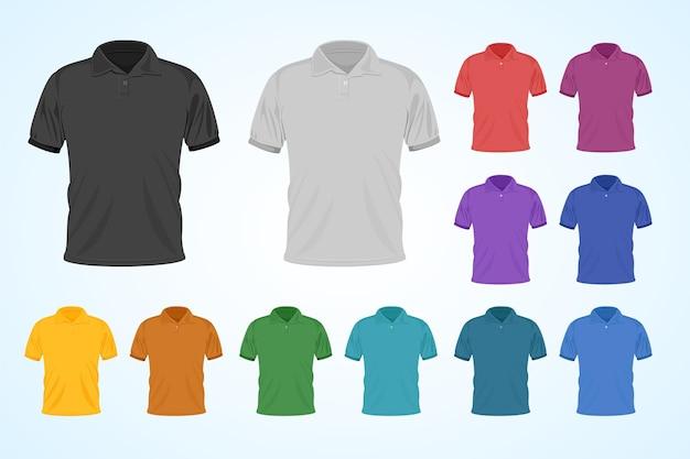 Zestaw Kolorowych Koszulek Polo Premium Wektorów
