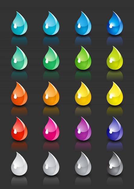 Zestaw kolorowych kropli z odbiciem Premium Wektorów