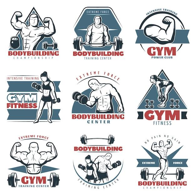Zestaw Kolorowych Logo Body Building Darmowych Wektorów