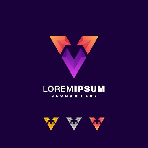 Zestaw Kolorowych Logo Litera V. Premium Wektorów