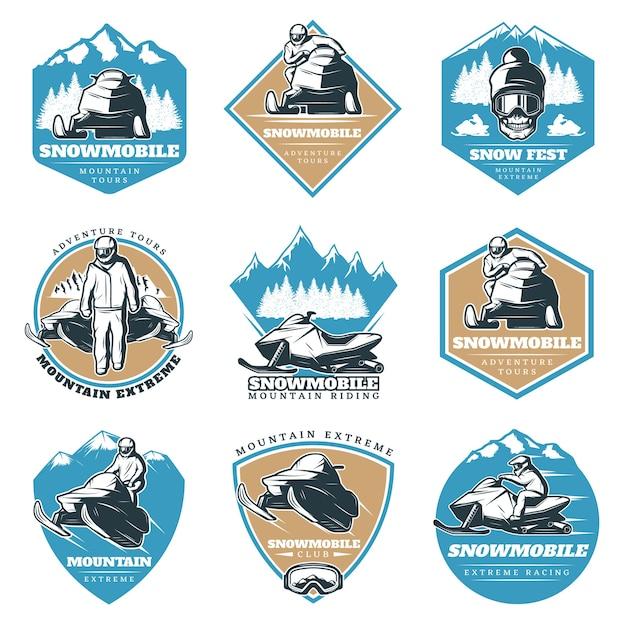 Zestaw Kolorowych Logo Riding Tour Darmowych Wektorów