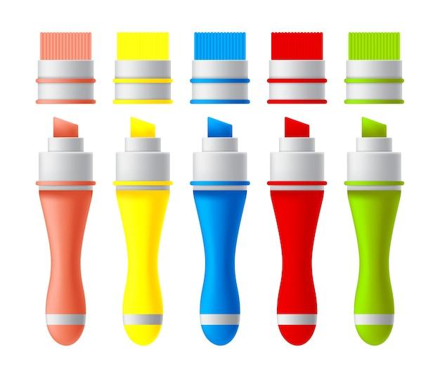 Zestaw Kolorowych Markerów. Premium Wektorów