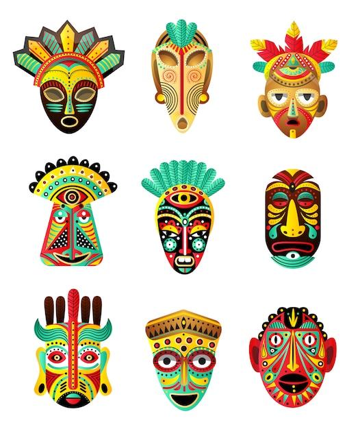Zestaw Kolorowych Maski Etniczne, Afrykańskie, Meksykańskie, Element Rytualny Premium Wektorów