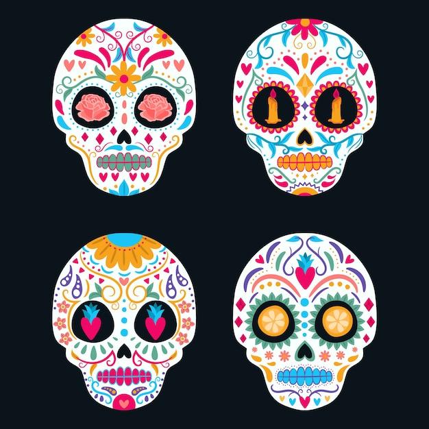 Zestaw kolorowych meksykańskich czaszek. dzień zmarłych, dia de los muertos Premium Wektorów