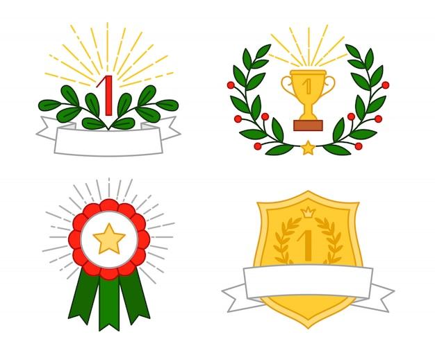 Zestaw Kolorowych Nagród Premium Wektorów