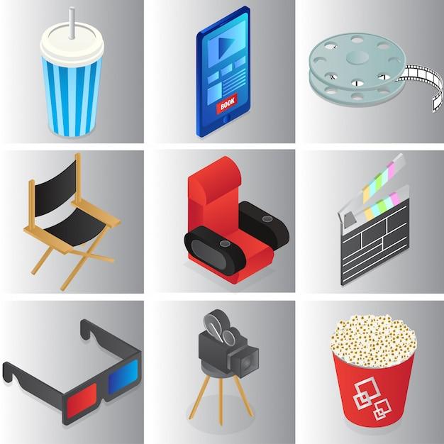 Zestaw kolorowych obiektów kina lub filmu w stylu 3d. Premium Wektorów