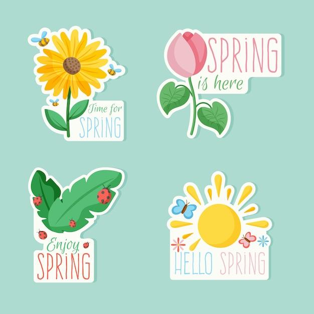 Zestaw Kolorowych Odznak Z Wiosennym Motywem Tematycznym Darmowych Wektorów