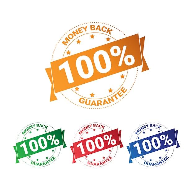 Zestaw Kolorowych Odznaka Pieniądze Z Gwarancją 100 Procent Kolekcja Na Białym Tle Premium Wektorów