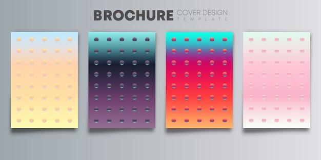 Zestaw Kolorowych Okładek Gradientu Z Kolorowymi Kropkami Premium Wektorów