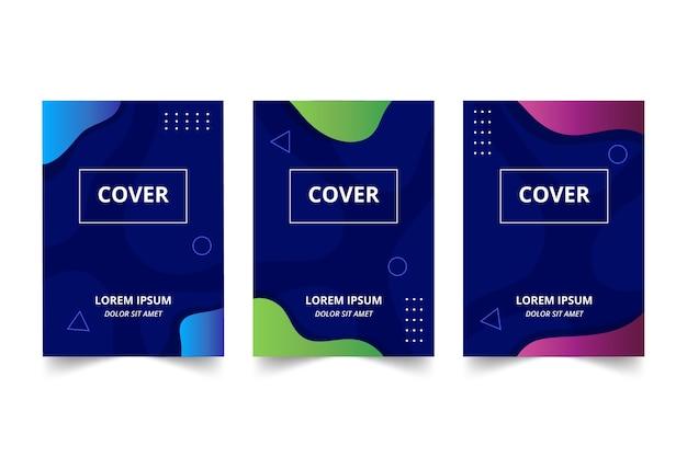 Zestaw Kolorowych Okładek Streszczenie Premium Wektorów