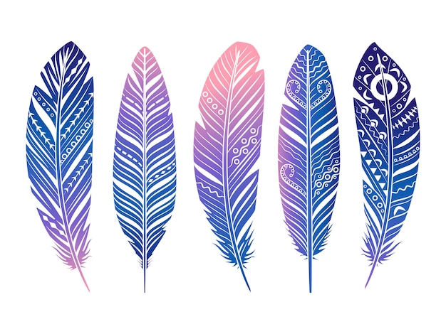 Zestaw kolorowych piór. ręcznie naszkicowanych plemiennych piór na białym tle Premium Wektorów