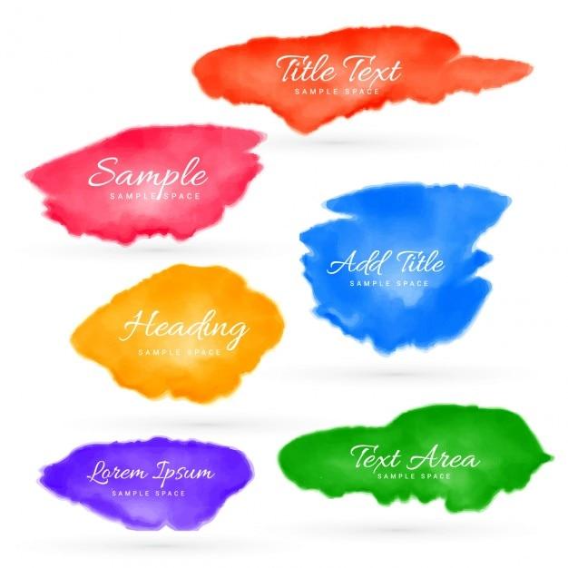 Zestaw Kolorowych Plam Akwarela Darmowych Wektorów