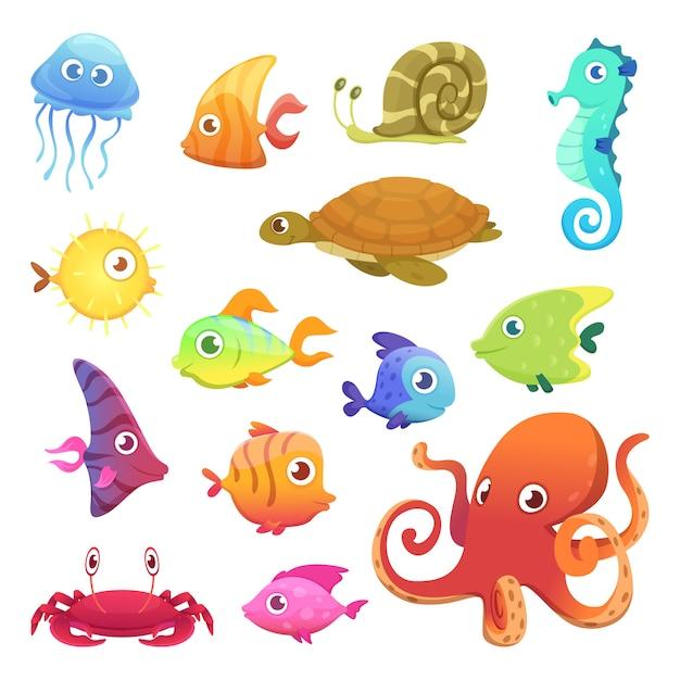 Zestaw Kolorowych Podwodnych Zwierząt Premium Wektorów