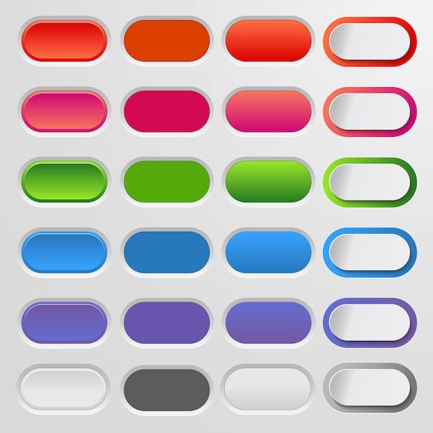 Zestaw Kolorowych Przycisków Internetowych. Kolorowa Kolekcja Premium Wektorów