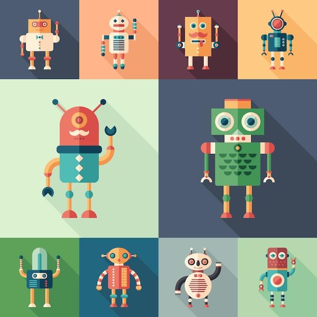 Zestaw Kolorowych Robotów Płaskie Kwadratowe Ikony Z Długie Cienie. Premium Wektorów