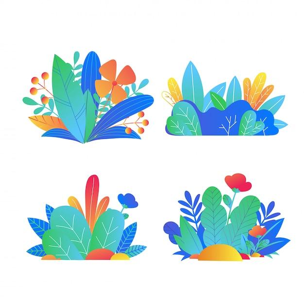 Zestaw Kolorowych Roślin Premium Wektorów