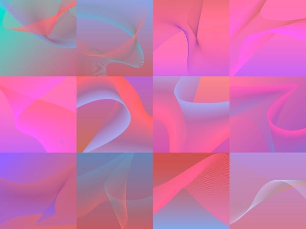 Zestaw kolorowych tętniących życiem grafiki 3d fal Darmowych Wektorów