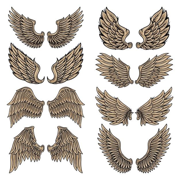 Zestaw Kolorowych Vintage Retro Skrzydła Aniołów I Ptaków Na Białym Tle Ilustracji W Stylu Tatuażu. Premium Wektorów