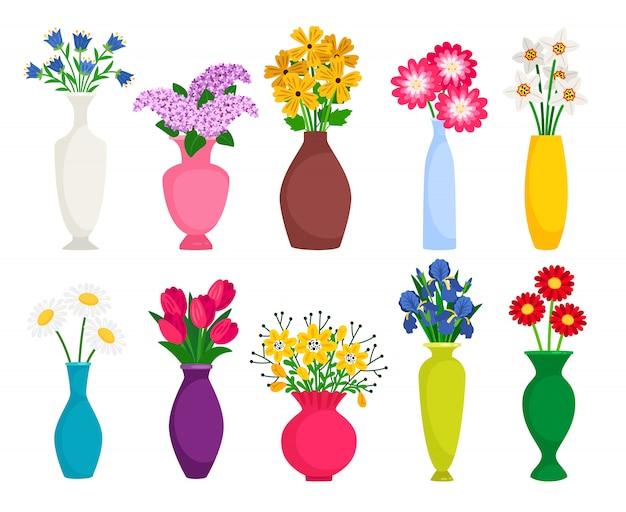 Zestaw Kolorowych Wazonów Z Kwitnącymi Kwiatami Do Dekoracji I Wnętrz Premium Wektorów