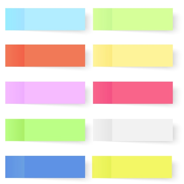 Zestaw Kolorowych Wektor Karteczek. Premium Wektorów