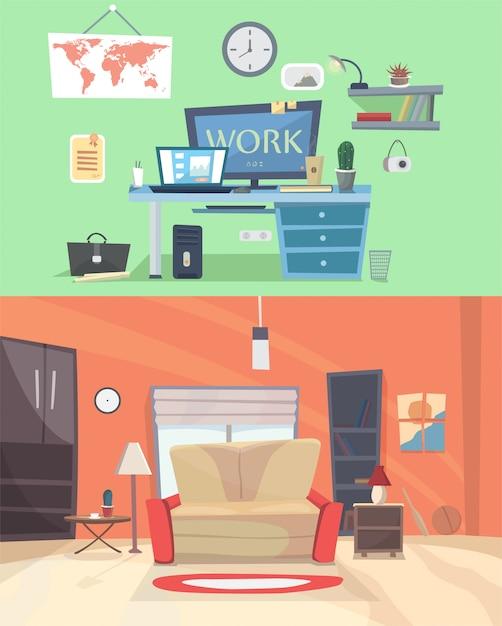 Zestaw Kolorowych Wektor Wnętrz Pokoje Dom Z Ikonami Mebli: Salon, Sypialnia. Ilustracja Wektorowa Płaski. Domowe Biuro Premium Wektorów
