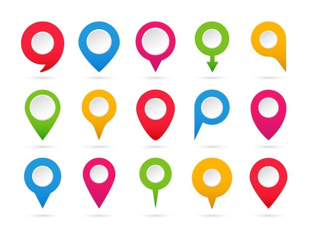 Zestaw Kolorowych Wskazówek. Zbiór Znaczników Mapy. Ikony Nawigacji I Lokalizacji. Premium Wektorów