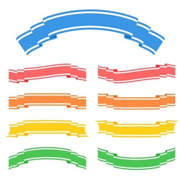 Zestaw Kolorowych Wstążek Na Białym Tle Banner Na Białym Tle Premium Wektorów