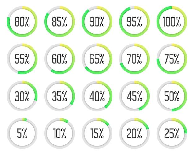 Zestaw Kolorowych Wykresów Kołowych. Zbiór Zielonych Diagramów Procentowych Premium Wektorów
