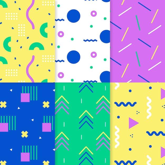 Zestaw Kolorowych Wzorów Memphis Darmowych Wektorów