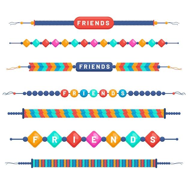 Zestaw Kolorowych Zespołów Przyjaźni Darmowych Wektorów