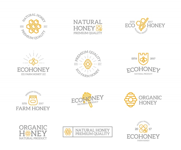 Zestaw Kombinacji Logo Miodu I Pszczoły. Premium Wektorów