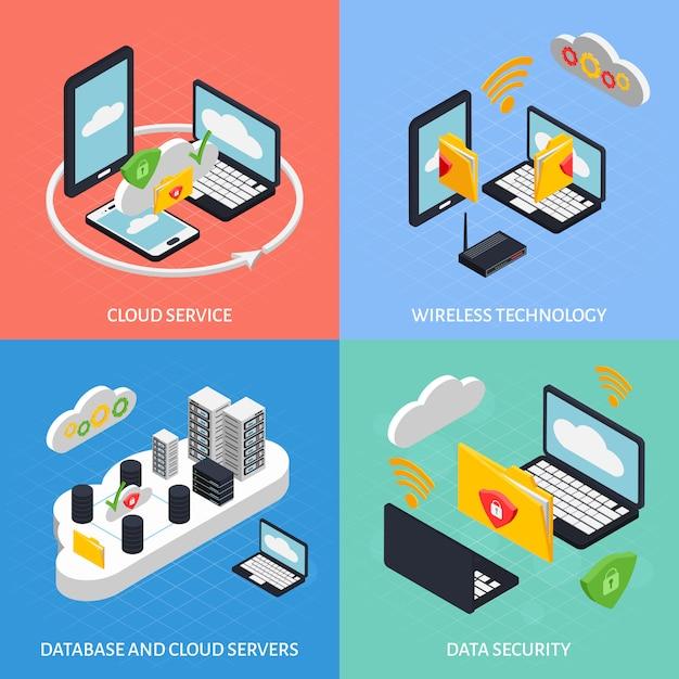 Zestaw kompozycji cloud office Darmowych Wektorów