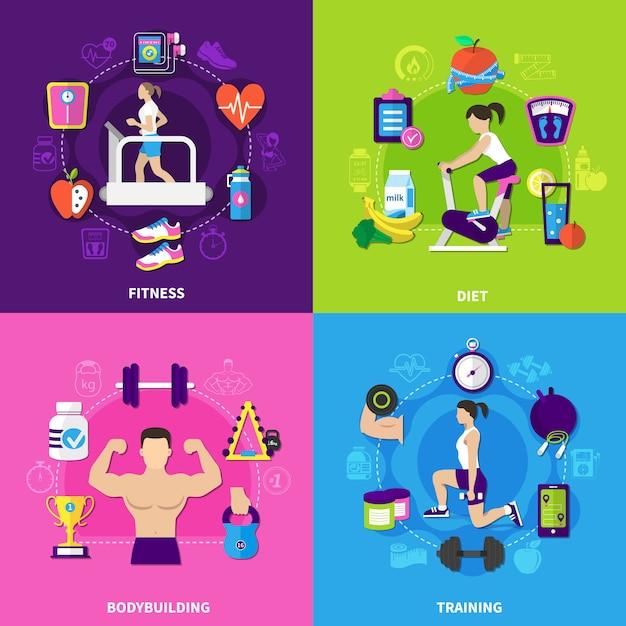 Zestaw Kompozycji Fitness Darmowych Wektorów