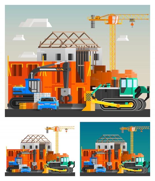Zestaw kompozycji maszyn budowlanych Darmowych Wektorów