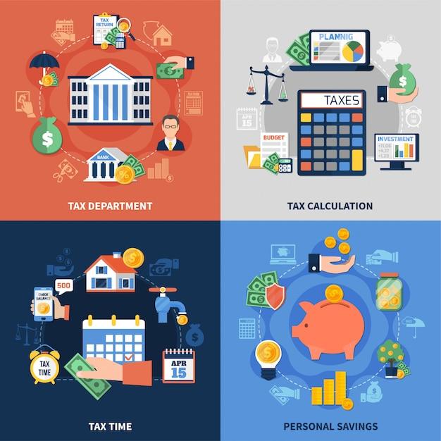Zestaw Kompozycji Podatkowych Darmowych Wektorów