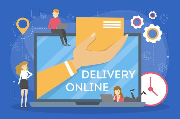 Zestaw Koncepcji Dostawy Online. Zamów W Internecie. Dodaj Do Koszyka, Zapłać Kartą I Czekaj Na Kuriera. Ilustracja Premium Wektorów