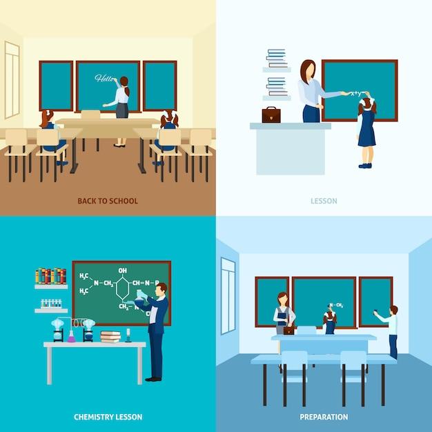 Zestaw koncepcji edukacji szkolnej Darmowych Wektorów