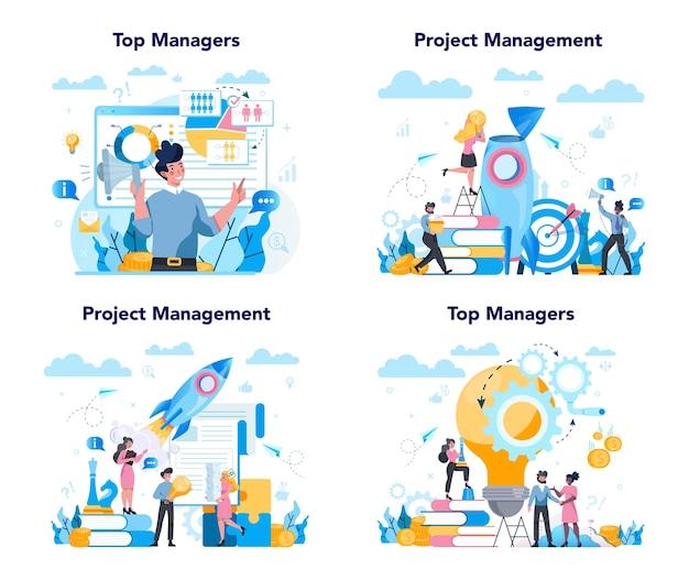 Zestaw Koncepcji Najwyższego Zarządzania Biznesowego. Skuteczna Strategia, Premium Wektorów