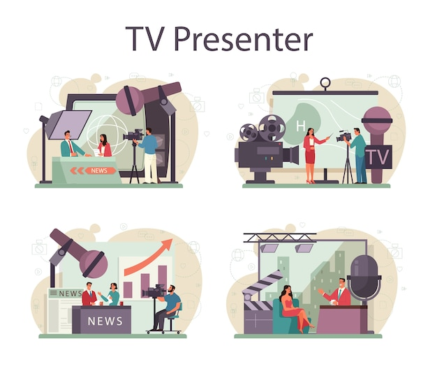 Zestaw Koncepcji Prezentera Telewizyjnego. Gospodarz Telewizyjny W Studio. Nadawca Przemawia Premium Wektorów