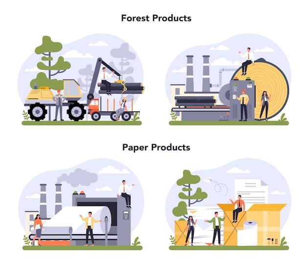 Zestaw Koncepcji Produkcji Papieru I Przemysłu Drzewnego. Proces Fabryki Papieru. Cięcie Drewna I Robienie Papieru. Globalny Standard Klasyfikacji Branżowej. Premium Wektorów